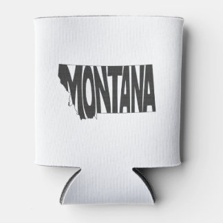 Montana State Name Word Art Black Can Cooler