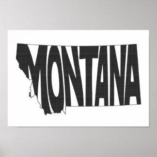 Montana State Name Word Art Black Poster