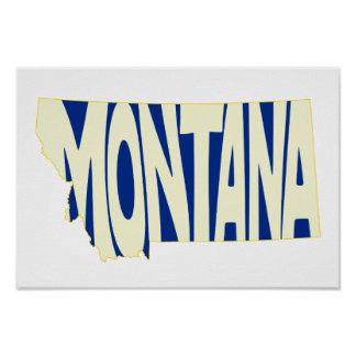 Montana State Name Word Art Yellow Poster