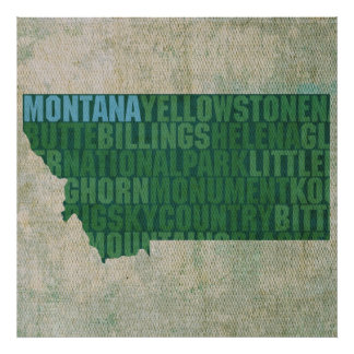 Montana State Outline Word Map on Canvas Poster