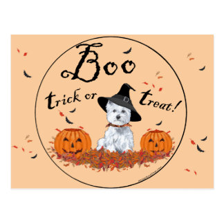 Montaña Terrier blanco del oeste Halloween Tarjeta Postal