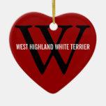 Montaña Terrier blanco del oeste/monograma de West Ornamento Para Arbol De Navidad