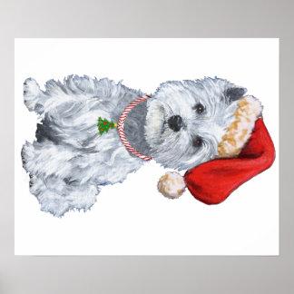 Montaña Terrier blanco del oeste Papá Noel Posters
