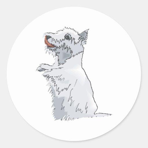 Montaña Terrier blanco del oeste Pegatina Redonda