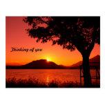 Montaña tranquila del lago sunset de la caída herm tarjetas postales