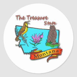 Montana Treasure State Bear Lark Flower Classic Round Sticker