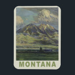 "Montana USA Vintage Travel magnet<br><div class=""desc"">See my store for more items with this print.</div>"
