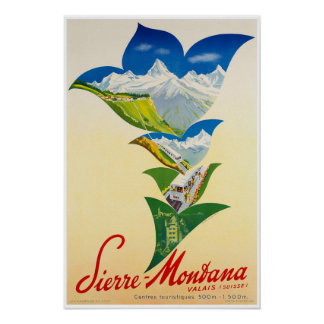 Montana,Valais,Switzerland,Ski Poster