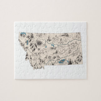 Montana Vintage Picture Map Jigsaw Puzzle