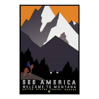 Montana Vintage Travel Poster