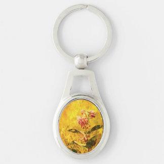 Montana Wildflower Metal Keychain Silver-Colored Oval Keychain
