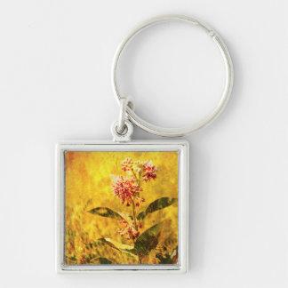 Montana Wildflower Premium Keychain Silver-Colored Square Keychain