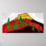 Montaña y árboles poster