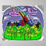Montaña y arco iris poster