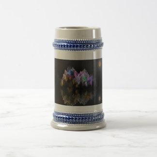 Montaña y lago cristalinos extranjeros tazas de café