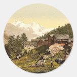 Montaña y Rimpfischhorn de Staffel, con los Pegatina Redonda