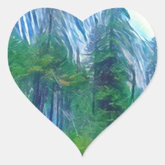 Montaña y Sun de no. 3 de Yosemite Pegatina En Forma De Corazón