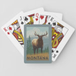 "MontanaElk Scene Playing Cards<br><div class=""desc"">Montana - Elk Scene - LP Original Poster -   was created in 2008. This image depicts scenes from Montana.</div>"