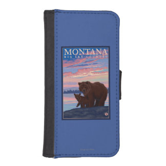 MontanaMomma Bear and Cub Vintage Travel iPhone SE/5/5s Wallet Case