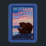 "MontanaMomma Bear and Cub Vintage Travel Magnet<br><div class=""desc"">Montana - Momma Bear and Cub Vintage Travel Poster was created in 2007. This image depicts scenes from Montana.</div>"