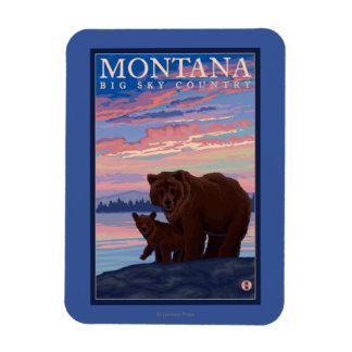 MontanaMomma Bear and Cub Vintage Travel Magnet