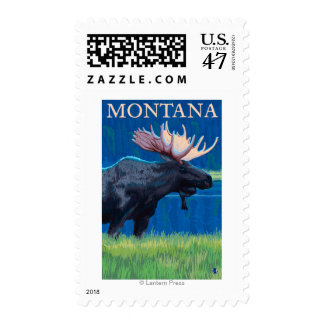 MontanaMoose Vintage Travel Poster Postage