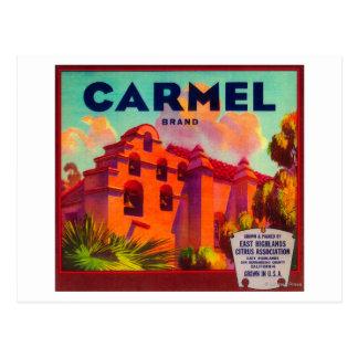 Montañas anaranjadas de Carmel LabelEast, CA Tarjetas Postales