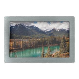 Montañas azules de la laguna del río de la natural hebilla cinturón rectangular