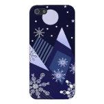 Montañas azules y copos de nieve decorativos iPhone 5 protectores