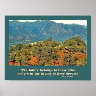 montañas con los pinos póster