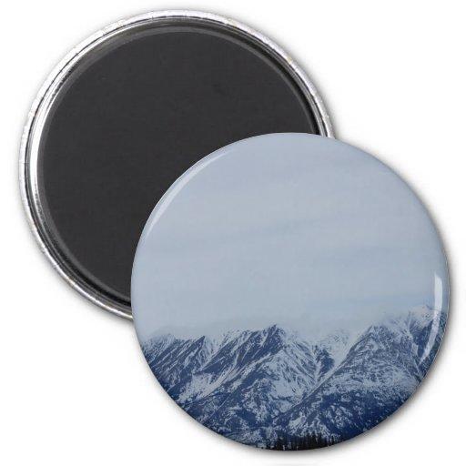 Montañas de Alaska Imán Redondo 5 Cm