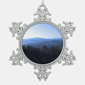 Montañas de Carolina del Norte Adorno De Peltre En Forma De Copo De Nieve