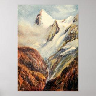Montañas de Eiger del vintage en el poster de las