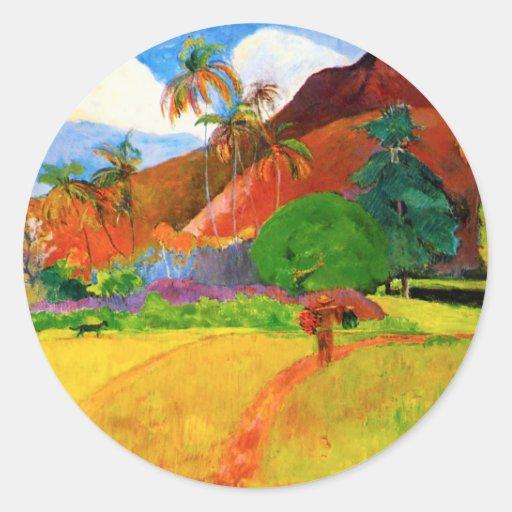 Montañas de Gauguin en el imán de Tahití Pegatina Redonda
