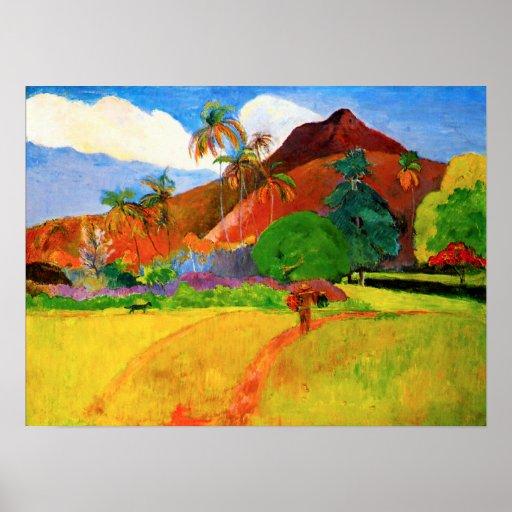 Montañas de Gauguin en el poster de Tahití