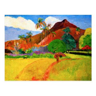 Montañas de Gauguin en la postal de Tahití