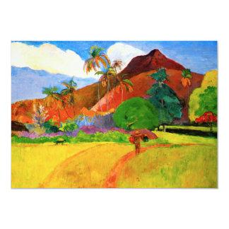 Montañas de Gauguin en las invitaciones de Tahití Invitación 12,7 X 17,8 Cm