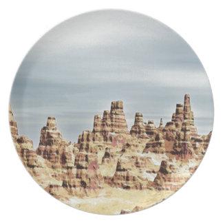 Montañas de la piedra arenisca platos para fiestas