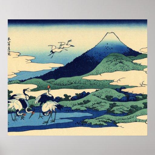 Montañas de la pintura del arte de Hokusai Poster