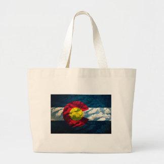 Montañas de la roca de la bandera de Colorado Bolsa Tela Grande