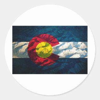 Montañas de la roca de la bandera de Colorado Pegatina Redonda