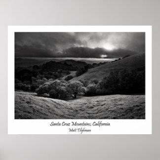 Montañas de Santa Cruz en blanco y negro Póster