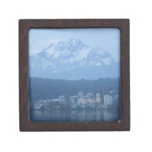 Montañas de Suiza Caja De Recuerdo De Calidad