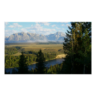 Montañas de Teton e impresión magníficas del río Poster