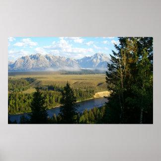 Montañas de Teton e impresión magníficas del río Póster