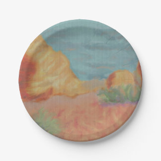 Montañas del desierto plato de papel de 7 pulgadas