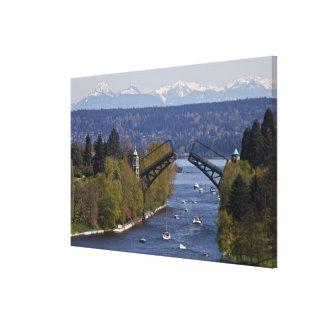 Montañas del puente y de la cascada de Montlake Lona Estirada Galerias