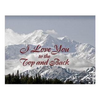 Montañas del vintage: Te amo al top y a la parte Postal