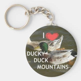 Montañas Ducky del pato Llavero Redondo Tipo Pin