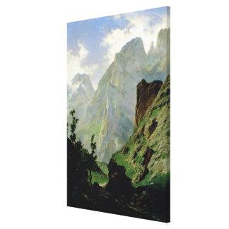 Montañas en Europa 1876 Impresión En Lienzo Estirada